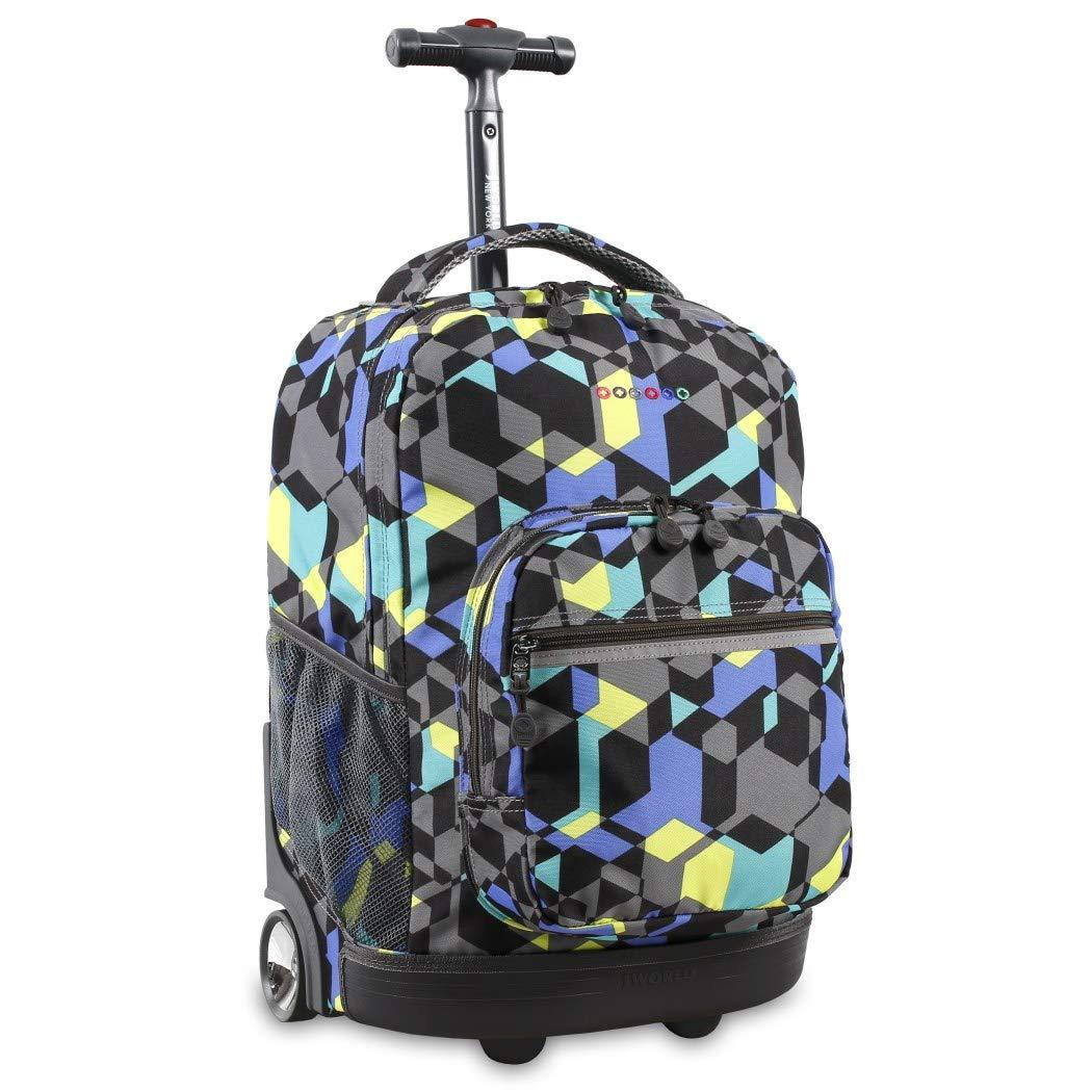Kidsカラーキューブ幾何テーマRollingバックパック、バックパックホイール、軽量でファッショナブルな、Wheeling Luggage,テクスチャシェイプスーツケース、子供用スクールバッグ B073TP3LDS