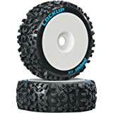 Duratrax Lockup 1:8 Scale RC Buggy Tires with Foam Inserts, C2 Soft Compound, Mounted on White Wheels (Set of 2)