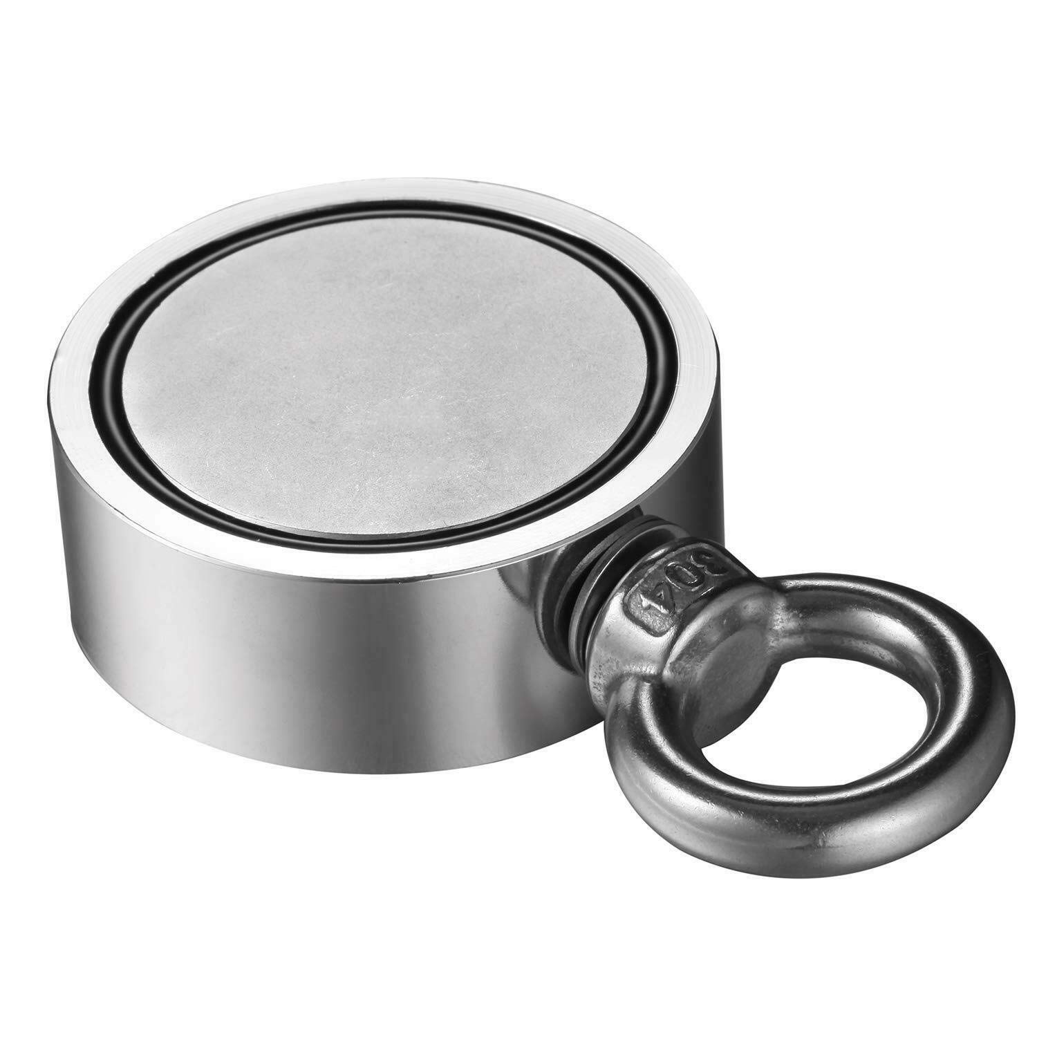Round Double Sided Fishing Magnet Super Strong Neodymium Fishing Magnets Double-Sided Magnetic Round Recovery Salvage Brute Magnet with Eyebolt Pulling Force Magnet for River Lake Fishing 600lbs