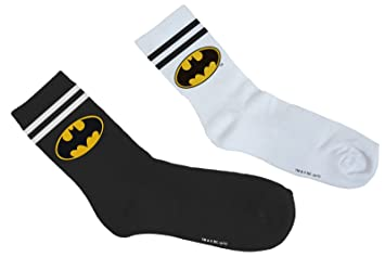 MERCHCODE Merch Código Batman Double Pack Calcetines, Unisex, MC200, Blanco/Negro,