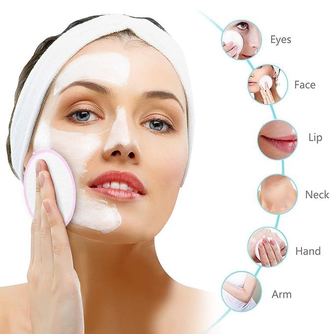 Almohadillas desmaquillantes de maquillaje de bambú, paquete de 12 con bolsa de lavandería - Facial suave reutilizable y almohadillas de tela para el ...