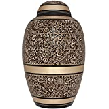 Dark Brown and Golden Funeral Urn for Human Ashes by Liliane Memorials - Hand Made in Brass - Suitable for Cemetery Burial or Niche - Large Size fits remains of Adults up to 200 lbs - Serenita Model