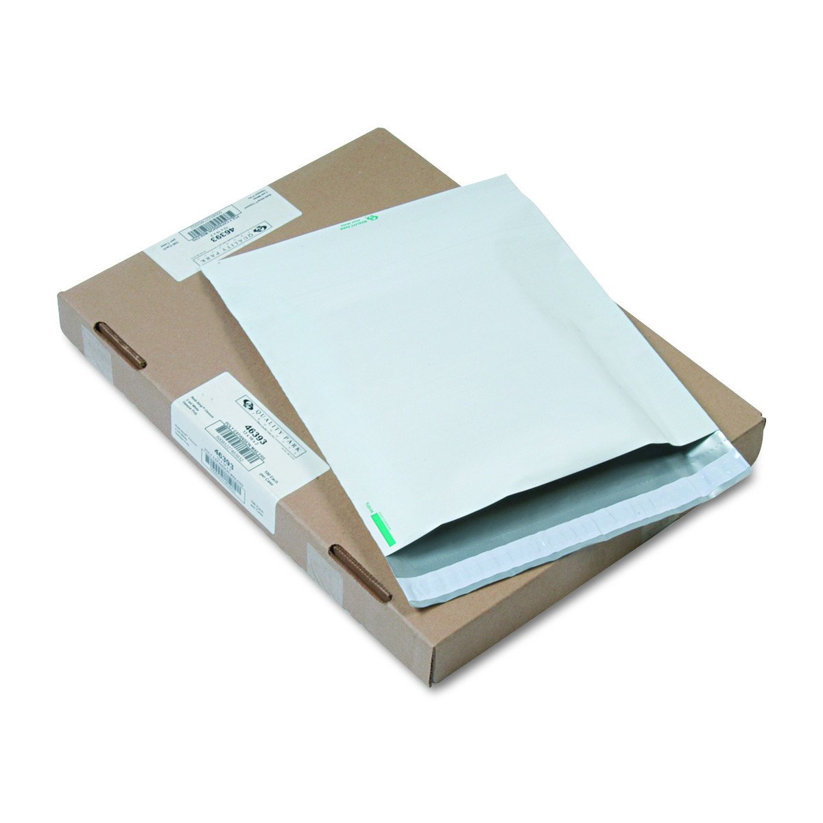Quality Park 46393 Redi Strip Poly Expansion Mailer, 13 x 16 x 2, White (Case of 100)