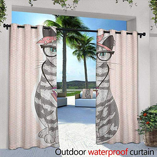 Marilds Teen Room Custom Outdoor Curtain Stylish Kitty Cat with Glasses Tribal Necklace Clasp Fashion Design Print Room Darkening Thermal 108