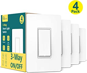 3-Way Smart Switch (Neutral Wire Required), Treatlife 2.4Ghz WiFi Light Switch 3-Way Switch Compatible with Alexa and Google Assistant, Remote Control, ETL, Schedule(4 Pack)