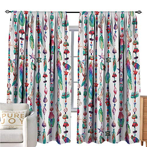 (bybyhome FeatherBlackout Window CurtainMarine Accessory Chains Pendants Mineral Stones Shells Beads Watercolor Style ArtDecor Curtains by W72 xL108 Multicolor)