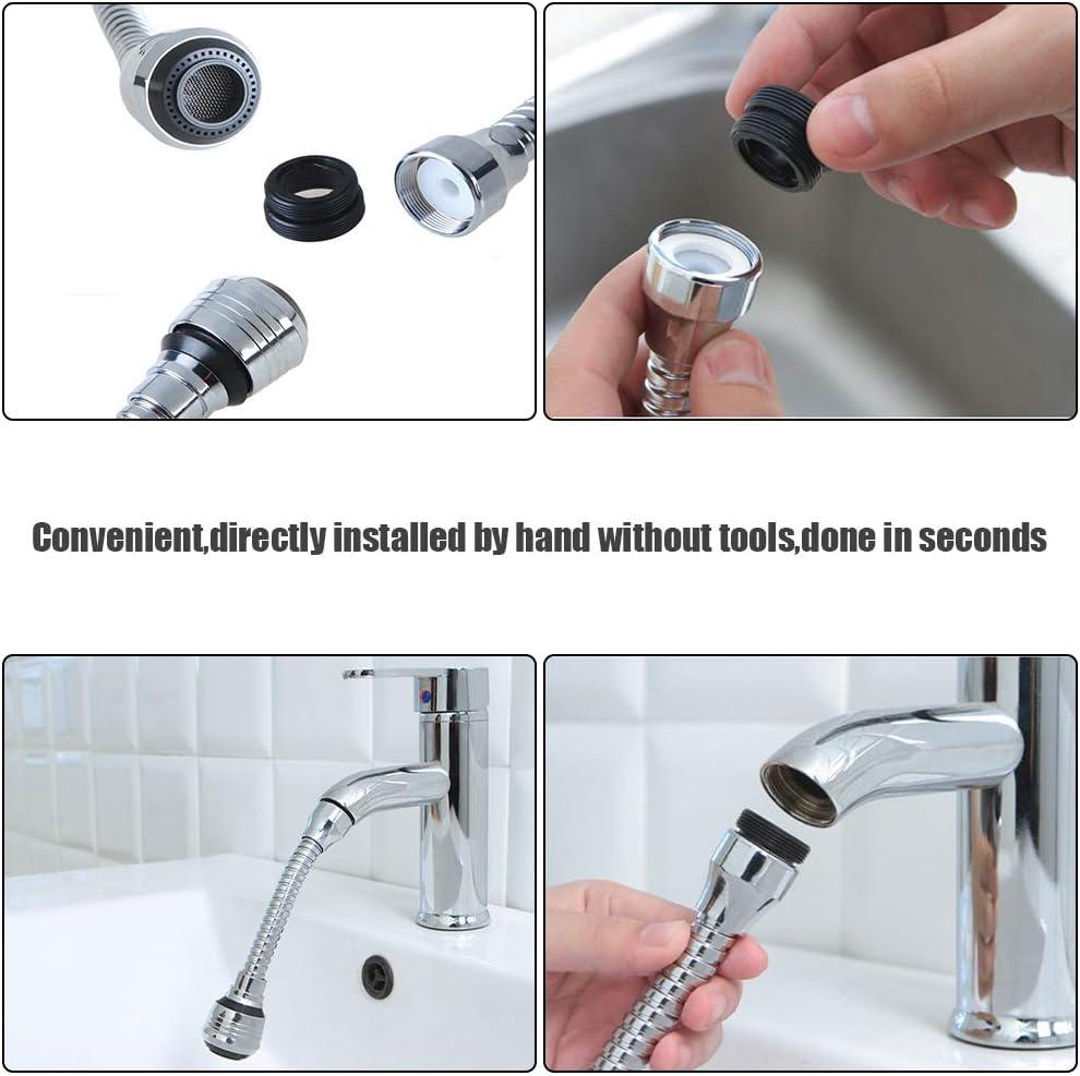 Faucet Supercharger Movable Kitchen Tap Head Faucet Bubbler Tap Splash Filter Nozzle Faucet Spray Head 2 Water Flow Design 360/°Rotatable Water Saving