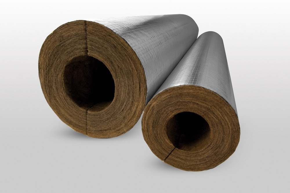 Knauf Mineral Wool Foil Faced Pipe Insulation 15mm Bore 25mm Thick 1.2m Long