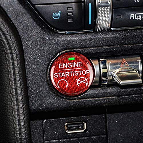 AIRSPEED for Ford Mustang Carbon Fiber Car Engine Start Stop Button Sticker Interior Trim (Red) (Mustang Engine Decals)