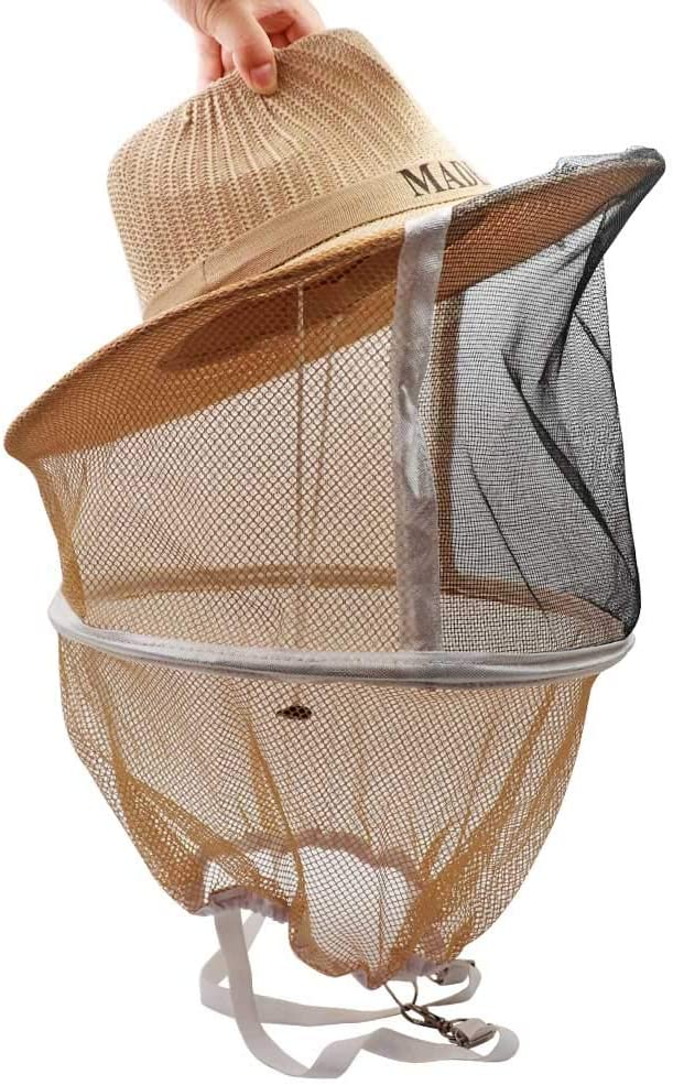 M.Z.A - Sombrero de Vaquero para Apicultura, Velo para jardín, protección contra Mosquitos, Mosquitos, Abejas, Velo de Red, Protector Facial