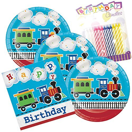 All Aboard The Train Birthday Theme Plates and Napkins Serves 16 With Birthday Candles - Theme Train