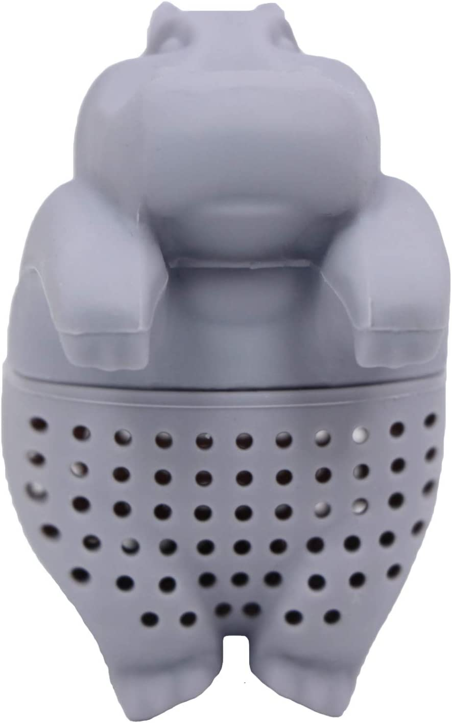 Vitrix Kitchenware Silicone Tea Infuser - Reusable Tea Diffuser Filter Strainer Made From 100% Food Grade Silicone - Cute & Funny Tea Infusers For Loose Leaf Tea Grey Hippo - Bring On When Travelling