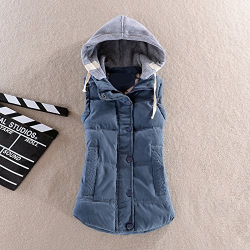 Hoodie Padded Zip Quilted Women up Sleeveless Gilet Blue Girls Vest Jacket ZEVONDA Winter 6qEZtHwn6