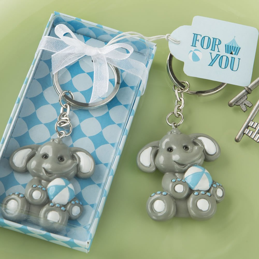 96 Adorable Baby Elephant with Blue Design Key Chains