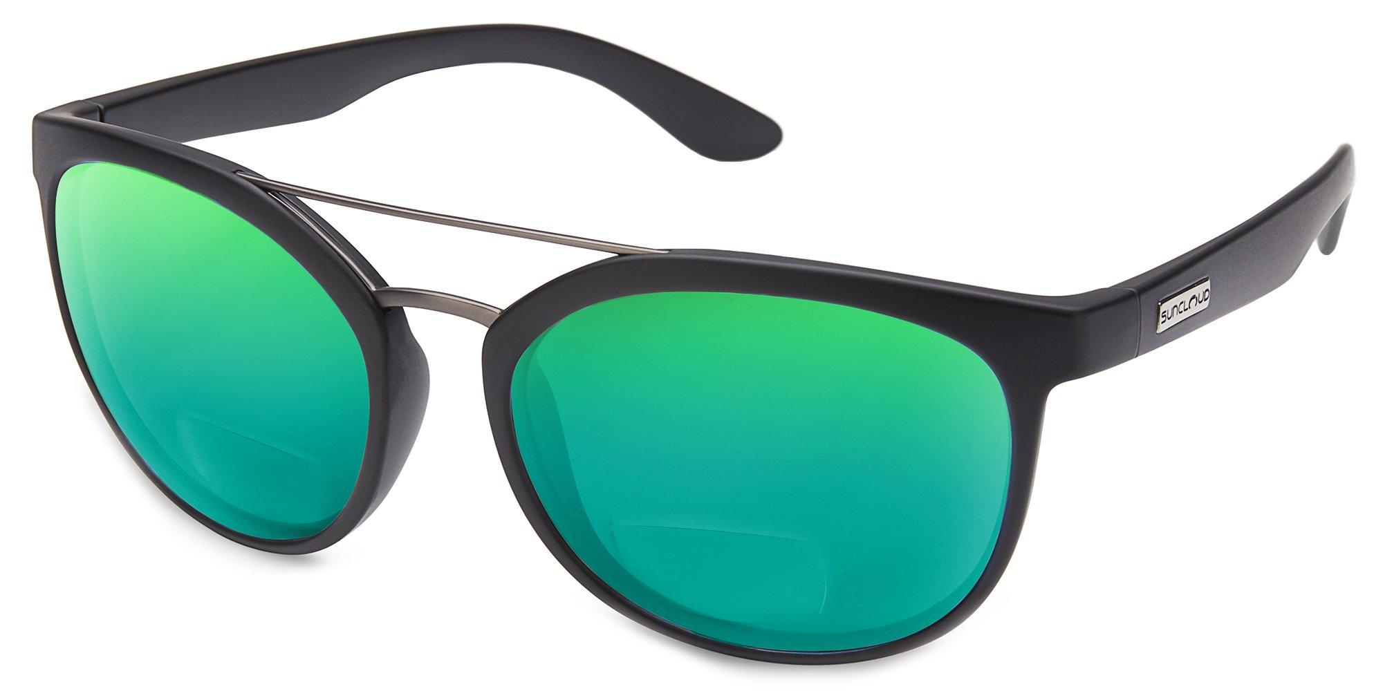 2b8f54151b1 Suncloud Liberty Polarized Bi-Focal Reading Sunglasses in Matte Black with  Green Mirror Lens +2.75