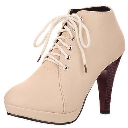 Coolcept Mujer Moda Cordones Botines Tacon Alto Plataforma: Amazon.es: Zapatos y complementos