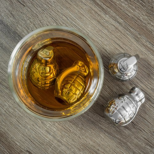 Whiskey Stones Grenade Shaped Stainless Steel with Storage Bag (Set of 4) by BarMe (Image #4)