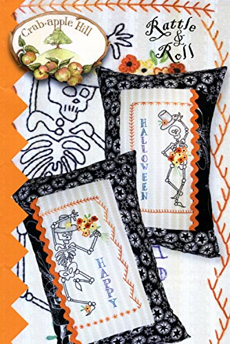 Rattle & Roll Skeleton Pillow Embroidery Pattern by Meg Hawkey from Crabapple Hill Studio #333 Happy Halloween -