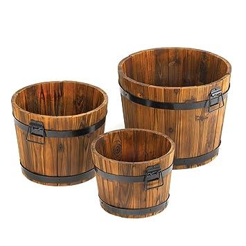 Rustic Barrel Planter Set