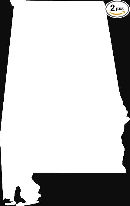 Amazon Com Alabama Silhouette Map Outline State White Set Of 2