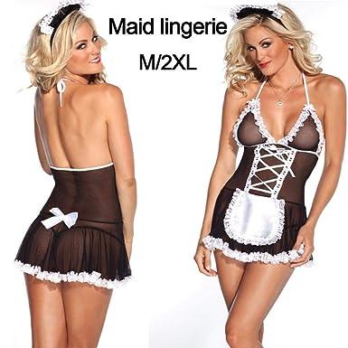 iBaste Lencería Sexy Traje Disfraz de Criada Negro Vestido Mini ...