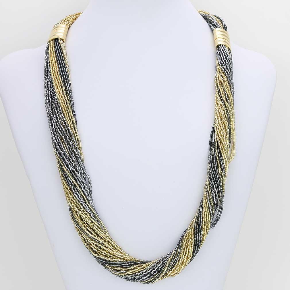 GlassOfVenice - Collar y Pulsera de Cristal de Murano Dogaressa, 48 hebras, Color Dorado y Gris