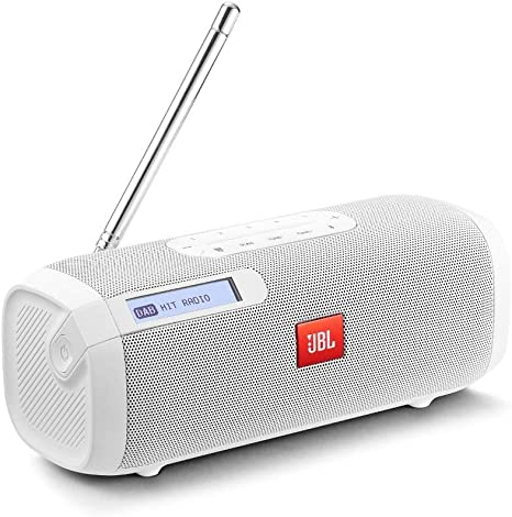 JBL Tuner – Enceinte Radio Bluetooth portable – Radio FM et DAB – Autonomie 8 hrs – Bluetooth, Blanc