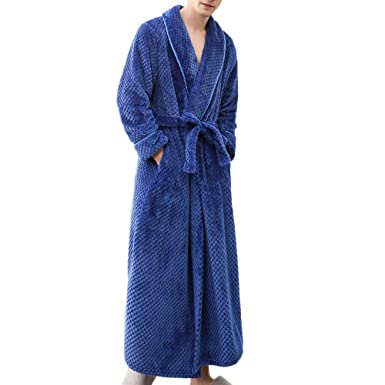 4e85f328ad Men Robe Soft Plush Warm Flannel Spa Long Bathrobe Ladies Winter Sleepwear  (Blue