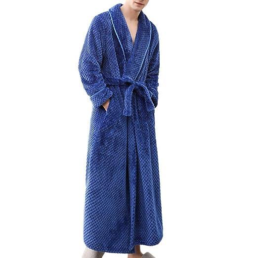 5091d1bc11 YOcheerful Men Women Bath Robe Winter Bathrobe Solid Comfy Shawl Long  Sleeve Pajama Nightwear Kimono Robe