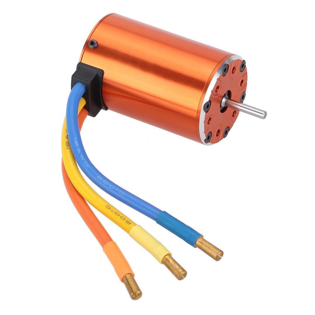 Gbell 550 4300KV 4 Poles Sensorless Brushless Motor for 1/10 4WD Short Course Trucks (Orange)