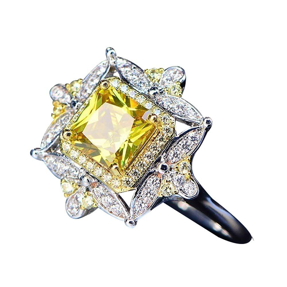 Slendima Square Shape Elegant Princess Yellow Rhinestone Ring Wedding Engagement Jewelry Yellow US 8