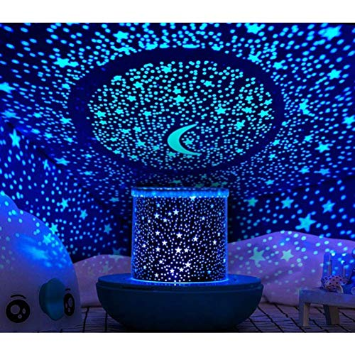 Prolight Remote Control Seabed Starry Sky Rotating LED Projector Night Light Table Lamp for Children Kids Baby Bedroom (Blue)