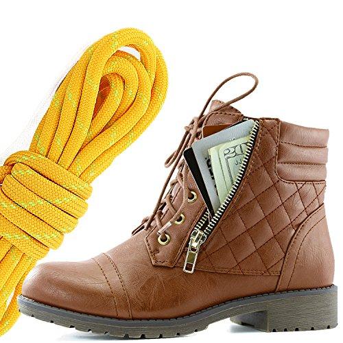 Dailyshoes Donna Militare Allacciatura Fibbia Stivali Da Combattimento Caviglia Alta Esclusiva Tasca Per Carte Di Credito, Tangerine Lime Tan Pu