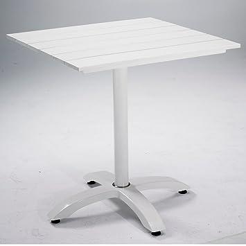 bistrotisch perfect 70x70x73cm aintwood weiss alu gestell wetterfest - Tisch Aintwood