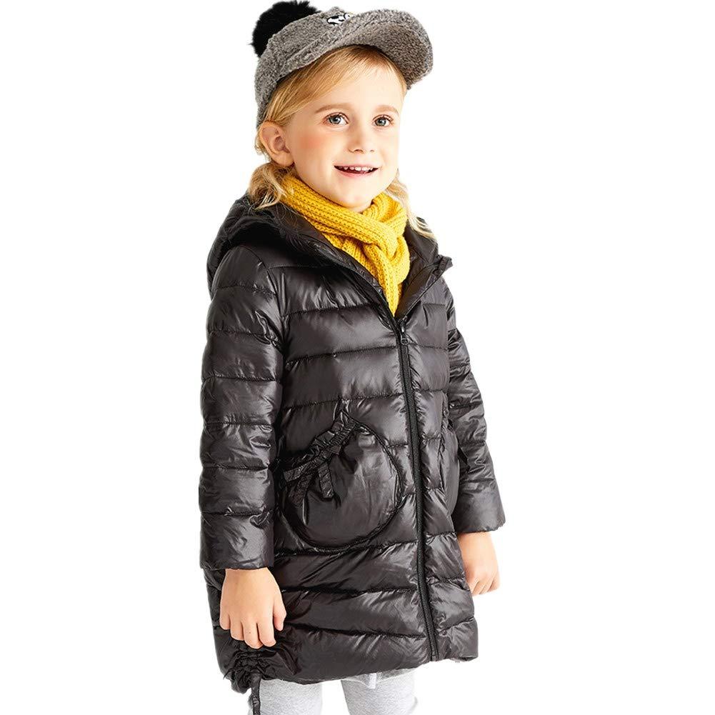 noir 110cm YZ-HODC Manteau Coupe de bébé d'enfants vers Le Bas, Veste légère légère de Style Mignon, Manteau remplissant d'hiver de Canard