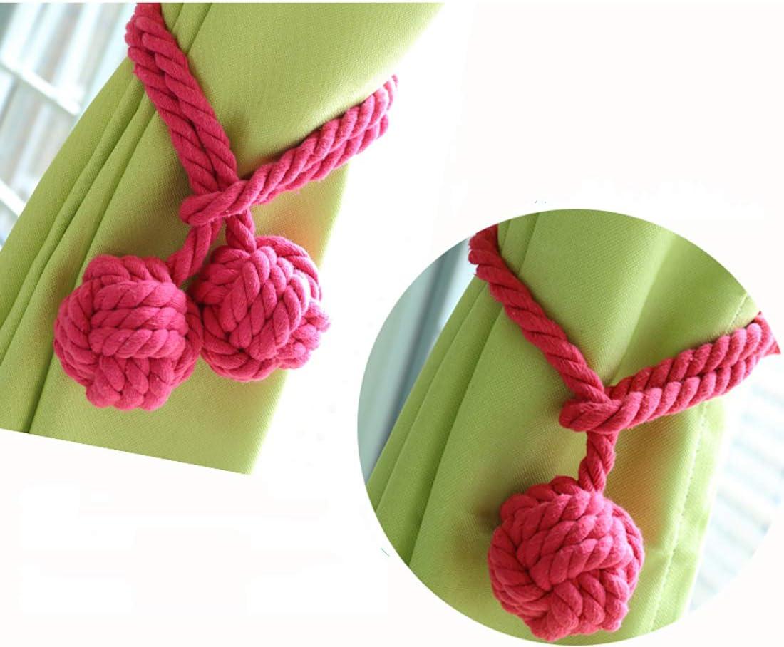 AoDao Curtain Holdbacks Hand Knot Braided Drapery Tiebacks with Double Ball Handmade Cotton Cord Rope Tassel 2pcs-White