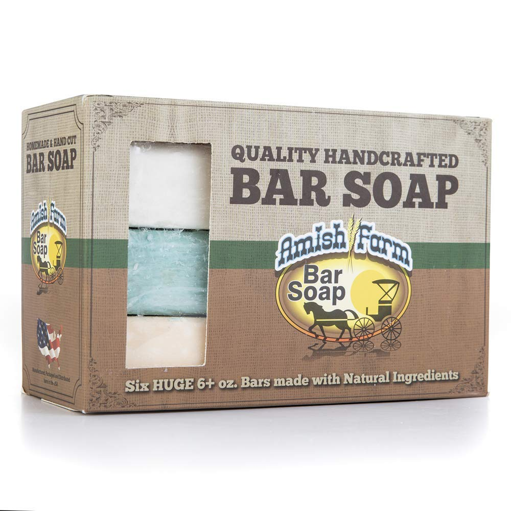 Amish Farms Handmade Bar Soap, Natural Ingredients, Cold Pressed, Carcinogen Free, 6 Ounce - 6 Pack Gift Box (6 Bars) : Beauty