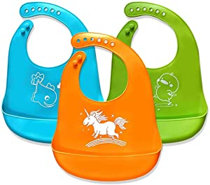 Bib for Babies Toddler Infant Silicone Bibs, 3pcs Waterproof Bibs Easily Wipes Clean Pocket Food Catcher for Unisex Kids (Baby Bibs)