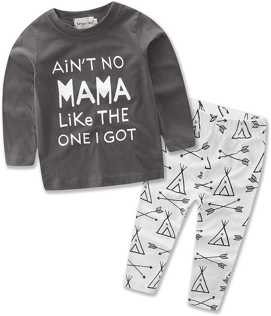 Samgami Baby Boys Sweater Shirt Toddler Clothes Pajamas Cotton Sleepwear T-Shirt Pants Set