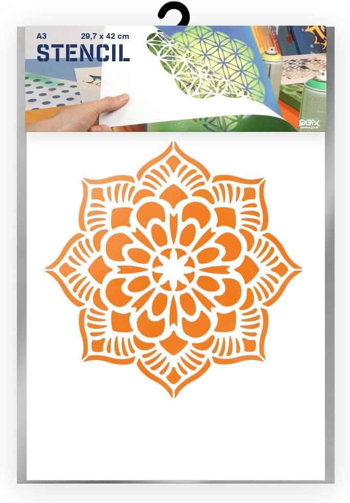 artisanat Mandala /Ø 25cm mur Pochoir r/éutilisable pochoir de sol Plastique meubles adapt/é aux enfants Peinture Carton ou plastique A3 42 x 29,7cm Pochoir mandala p/âtisserie