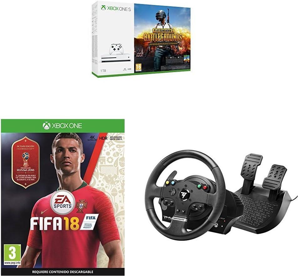 Xbox One S - Consola 1 TB + Playerunknowns Battlegrounds + FIFA 18 + Volante TMX Force Feedback: Amazon.es: Videojuegos