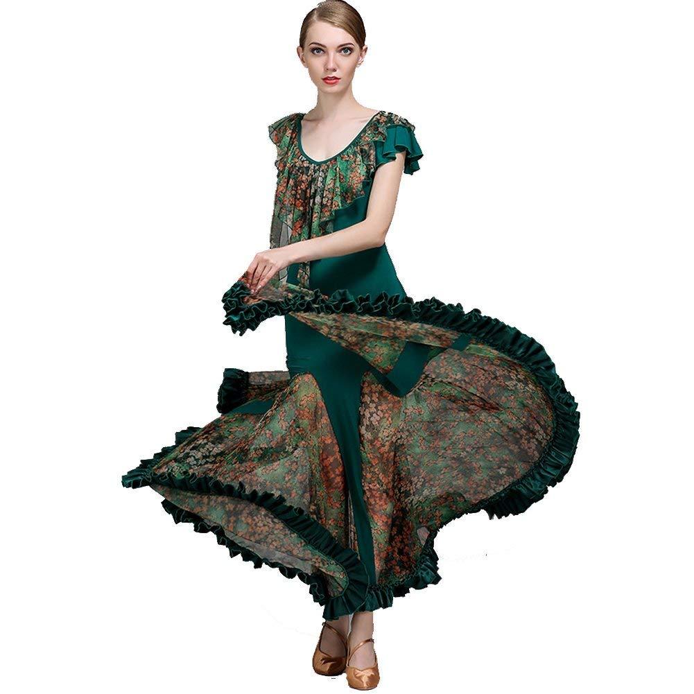 vert Medium JINPENGRAN pour Les Robes de Bal Les Les dames Perforhommece Robe en Soie imprimée Tulle Ice Robe Normale,rouge,XL
