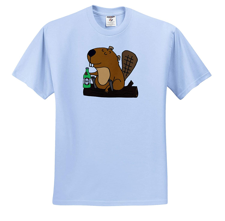 3dRose All Smiles Art Adult T-Shirt XL Animals ts/_309114 Cool Funny Beaver Drinking Beer Cartoon