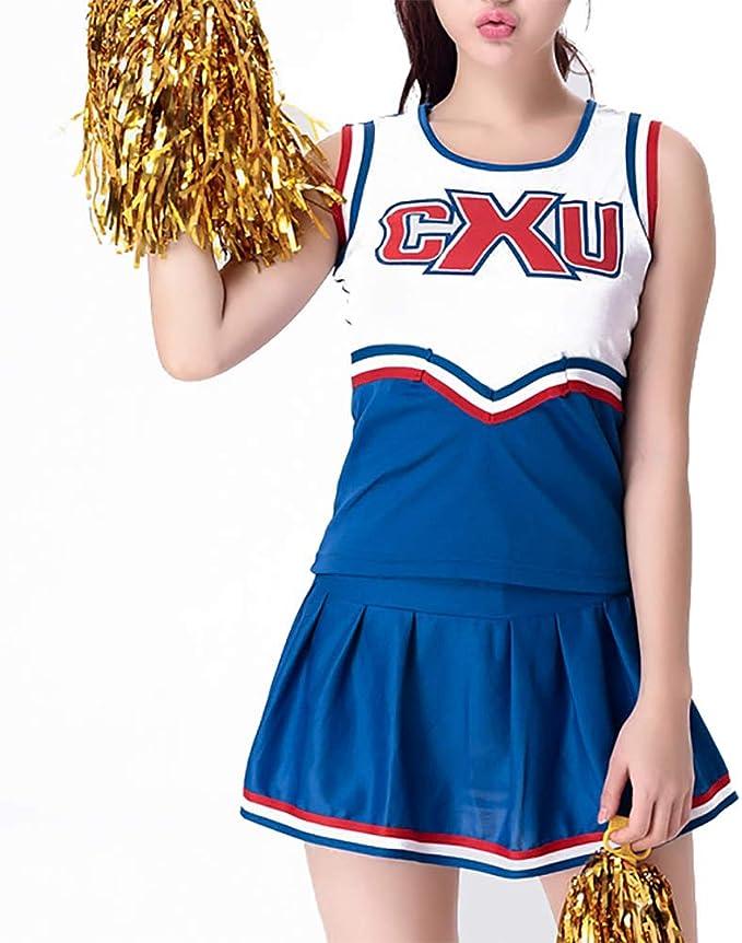 Cheerleading Uniform Blue High School Cheerleader Costume Golden ...