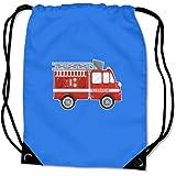 Turnbeutel Cooles Feuerwehrauto Sportbeutel für Schule Sport Sporttasche Bag Base® BG10 Gymsac 45x34cm saphir blau/farbiger Aufdruck