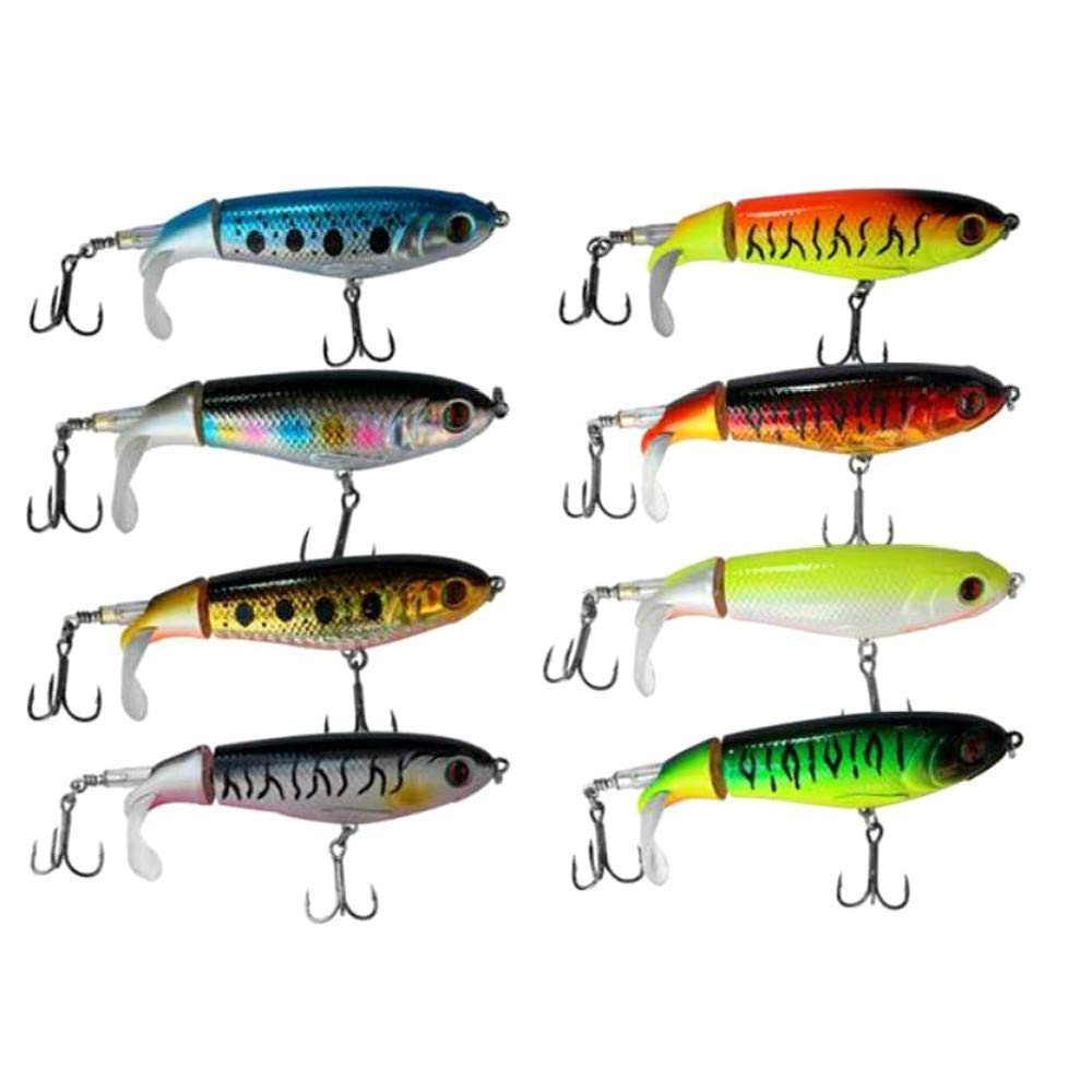 GUFIKY Fishing Lures Whopper Plopper 4.13 inch/0.6 oz with Rotating Spins Tail for Bass,Trout ,Walleye,Pike and Musky Topwater Floating Hard Baits Swimbaits with Barb Treble Hooks