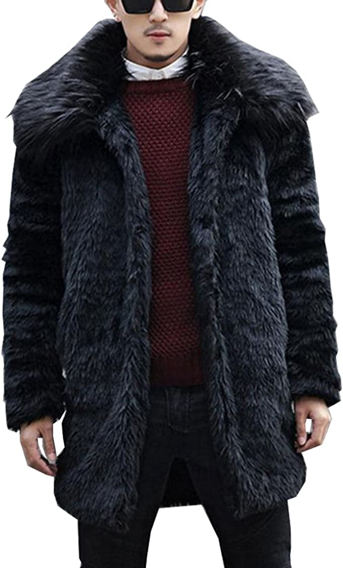 Mens Winter Warm Lapel Faux Fur Jacket Plush Overcoat Long Outwear Parka Coat