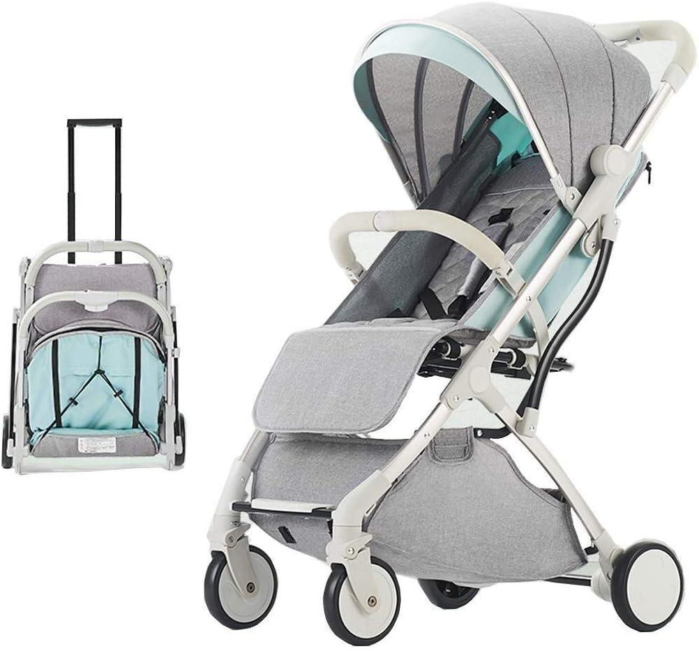 TZZ 新生児や幼児、調節可能な背もたれ調節可能なハイビュー乳母車幼児キャリッジとトラベルシステムのためのベビーカー軽量折り畳み式ベビーカー (色 : A)