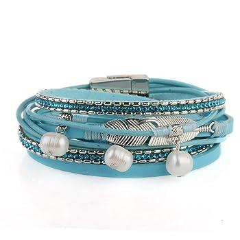 Women Leather Bracelet - Handmade Boho Feather Pearls Wrap Cuff Bangle Casual Jewelry Gift Teens Girls,Kids