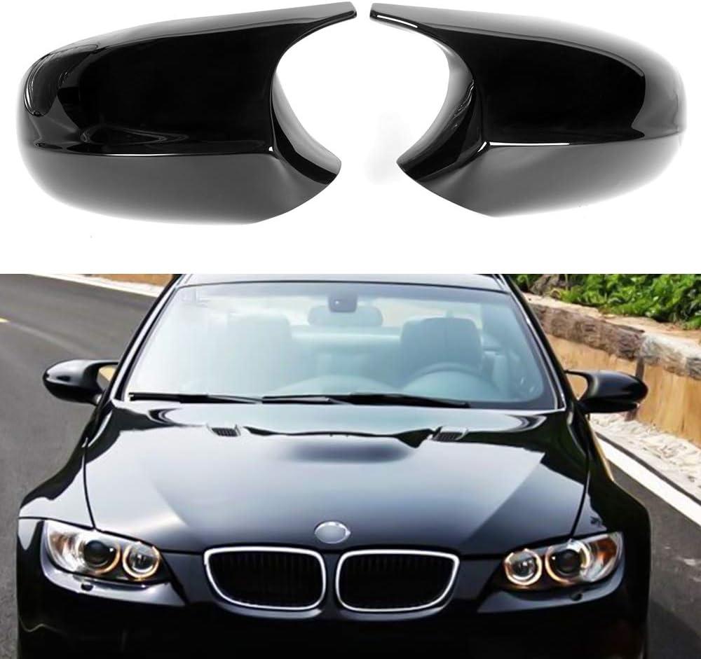 Gloss Black ABS Huichi Replacement Rearview Mirror Cover Cap Compatible for BMW 1 Series E87 E81 E82 E88 2007-2013 3 Series E90 E91 E92 E93 2008-2013